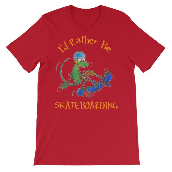 I'd Rather Be Skateboarding T-shirt-Red-S-Awkward T-Shirts