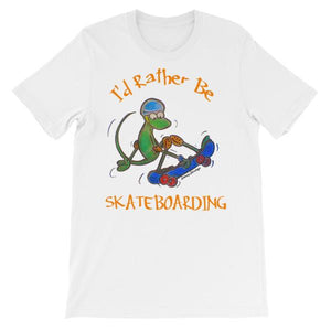 I'd Rather Be Skateboarding T-shirt-White-S-Awkward T-Shirts