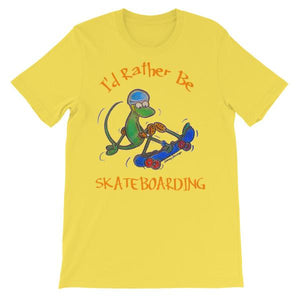 I'd Rather Be Skateboarding T-shirt-Yellow-S-Awkward T-Shirts