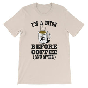 I'm a Bitch Before Coffee and After T-shirt-Soft Cream-S-Awkward T-Shirts