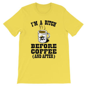 I'm a Bitch Before Coffee and After T-shirt-Yellow-S-Awkward T-Shirts