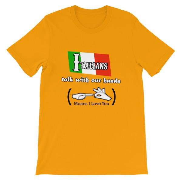 Italians Talk With Their Hands T-Shirt-Gold-S-Awkward T-Shirts