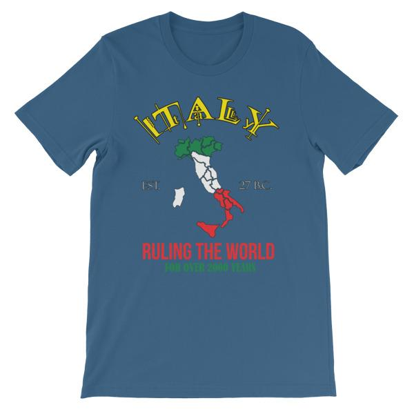Italy Ruling the World for Over 2000 Years T-shirt-Steel Blue-S-Awkward T-Shirts