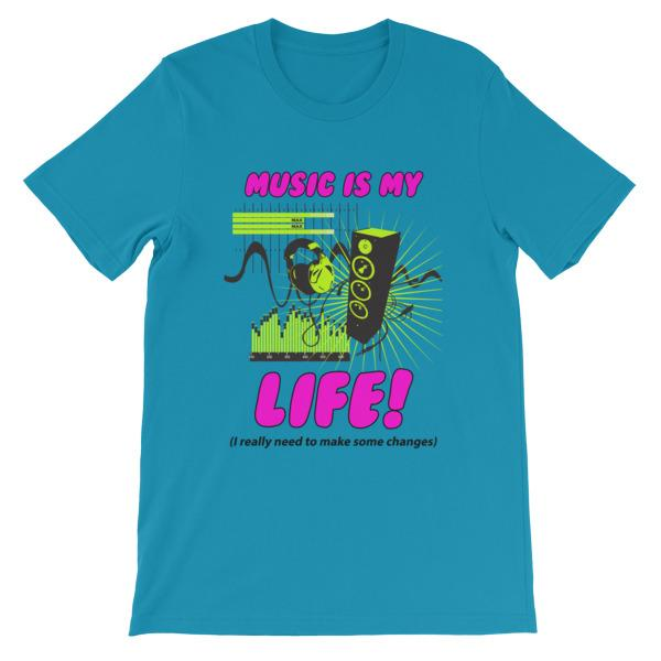 Music is My Life T-Shirt-Aqua-S-Awkward T-Shirts