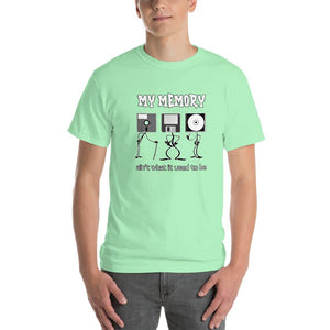 My Memory Ain't What it Used to Be Retro Computer Geek T-Shirt-Mint Green-S-Awkward T-Shirts