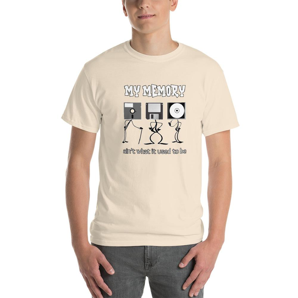 My Memory Ain't What it Used to Be Retro Computer Geek T-Shirt-Natural-S-Awkward T-Shirts