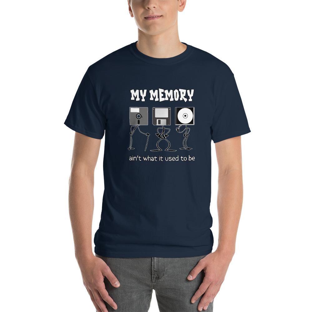 My Memory Ain't What it Used to Be Retro Computer Geek T-Shirt-Navy-S-Awkward T-Shirts