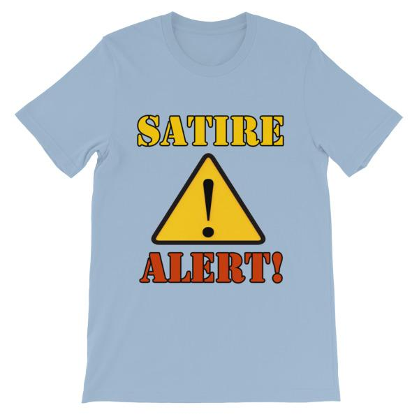 Satire Alert T-shirt-Light Blue-S-Awkward T-Shirts