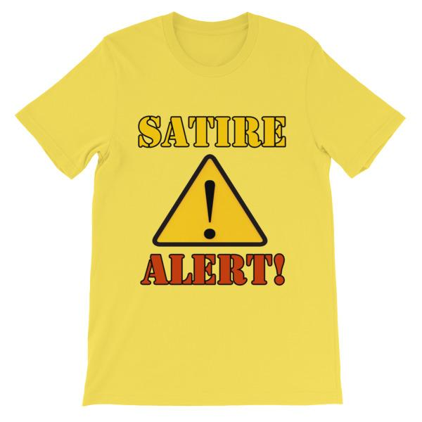 Satire Alert T-shirt-Yellow-S-Awkward T-Shirts