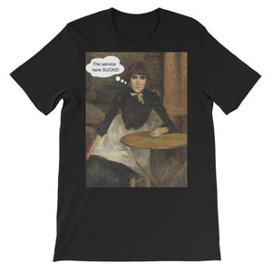 The Service Here Sucks Funny Art T-shirt-Black-S-Awkward T-Shirts