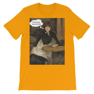 The Service Here Sucks Funny Art T-shirt-Gold-S-Awkward T-Shirts