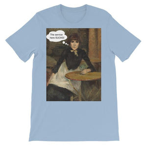 The Service Here Sucks Funny Art T-shirt-Light Blue-S-Awkward T-Shirts