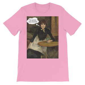 The Service Here Sucks Funny Art T-shirt-Pink-S-Awkward T-Shirts