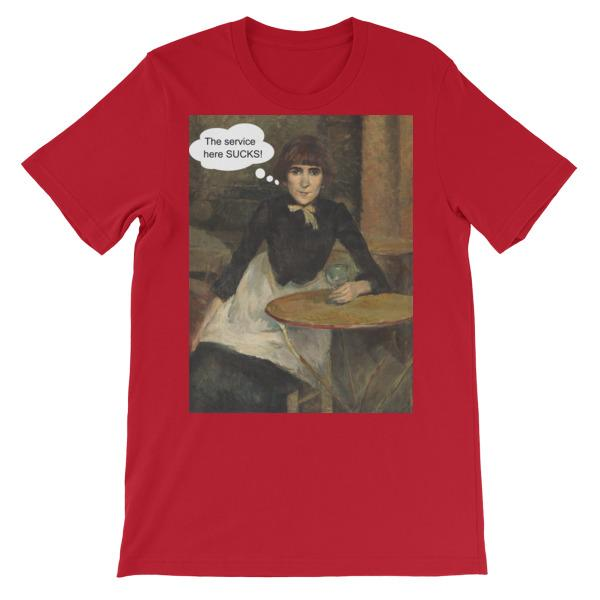The Service Here Sucks Funny Art T-shirt-Red-S-Awkward T-Shirts