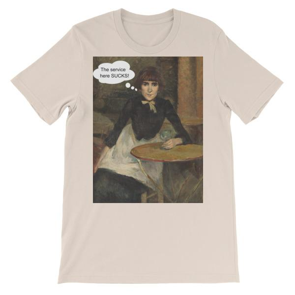 The Service Here Sucks Funny Art T-shirt-Soft Cream-S-Awkward T-Shirts