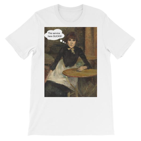 The Service Here Sucks Funny Art T-shirt-White-S-Awkward T-Shirts