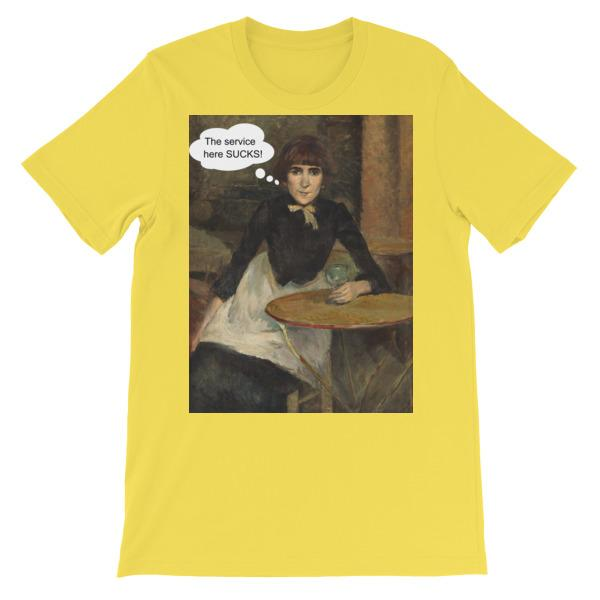 The Service Here Sucks Funny Art T-shirt-Yellow-S-Awkward T-Shirts