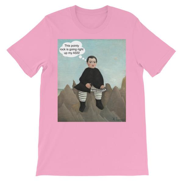 This Rock is Going Right Up My Ass Art T-shirt-Pink-S-Awkward T-Shirts