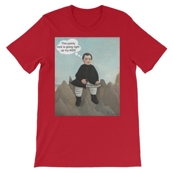 This Rock is Going Right Up My Ass Art T-shirt-Red-S-Awkward T-Shirts