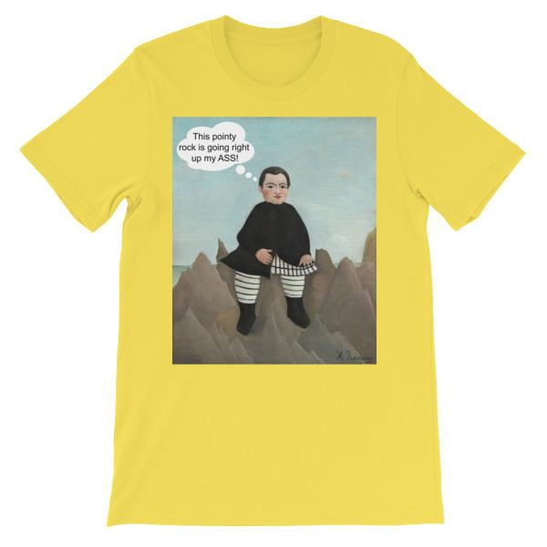 This Rock is Going Right Up My Ass Art T-shirt-Yellow-S-Awkward T-Shirts