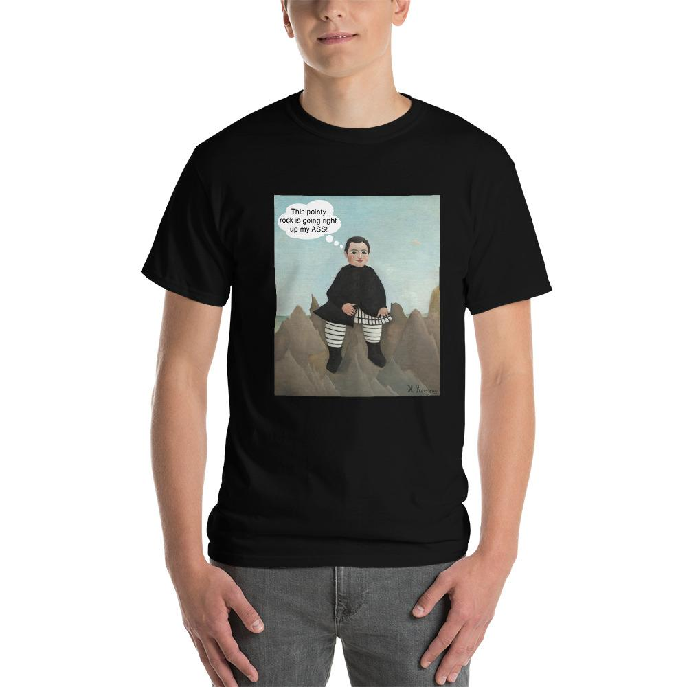 This Rock is Going Right Up My Ass Funny Art T-Shirt-Black-S-Awkward T-Shirts