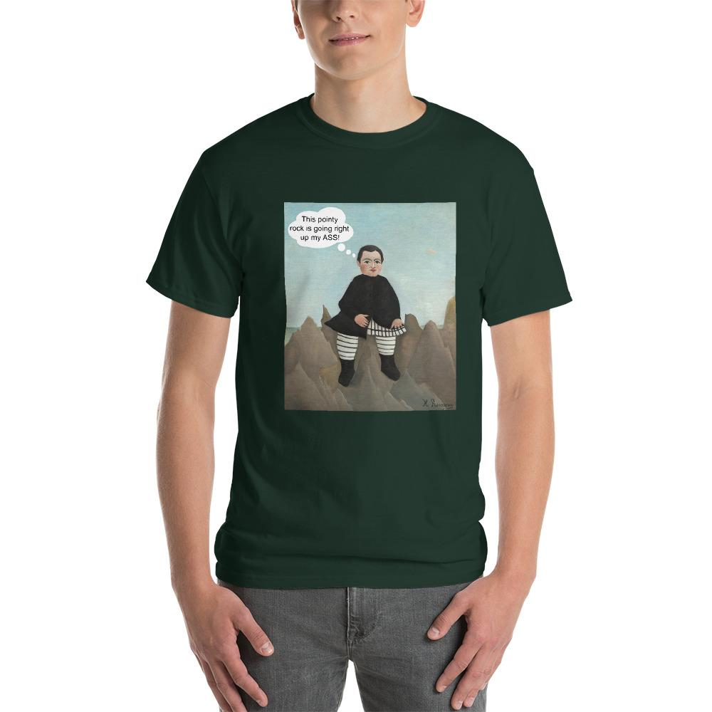 This Rock is Going Right Up My Ass Funny Art T-Shirt-Forest-S-Awkward T-Shirts