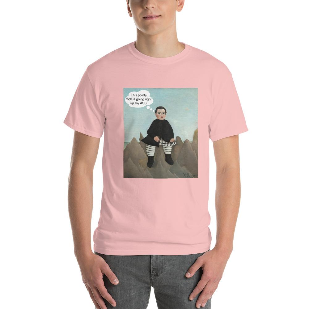 This Rock is Going Right Up My Ass Funny Art T-Shirt-Light Pink-S-Awkward T-Shirts