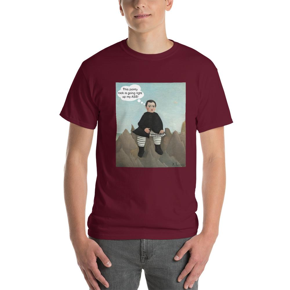 This Rock is Going Right Up My Ass Funny Art T-Shirt-Maroon-S-Awkward T-Shirts