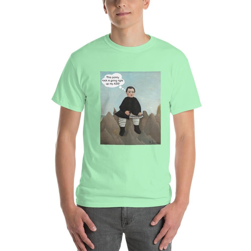 This Rock is Going Right Up My Ass Funny Art T-Shirt-Mint Green-S-Awkward T-Shirts