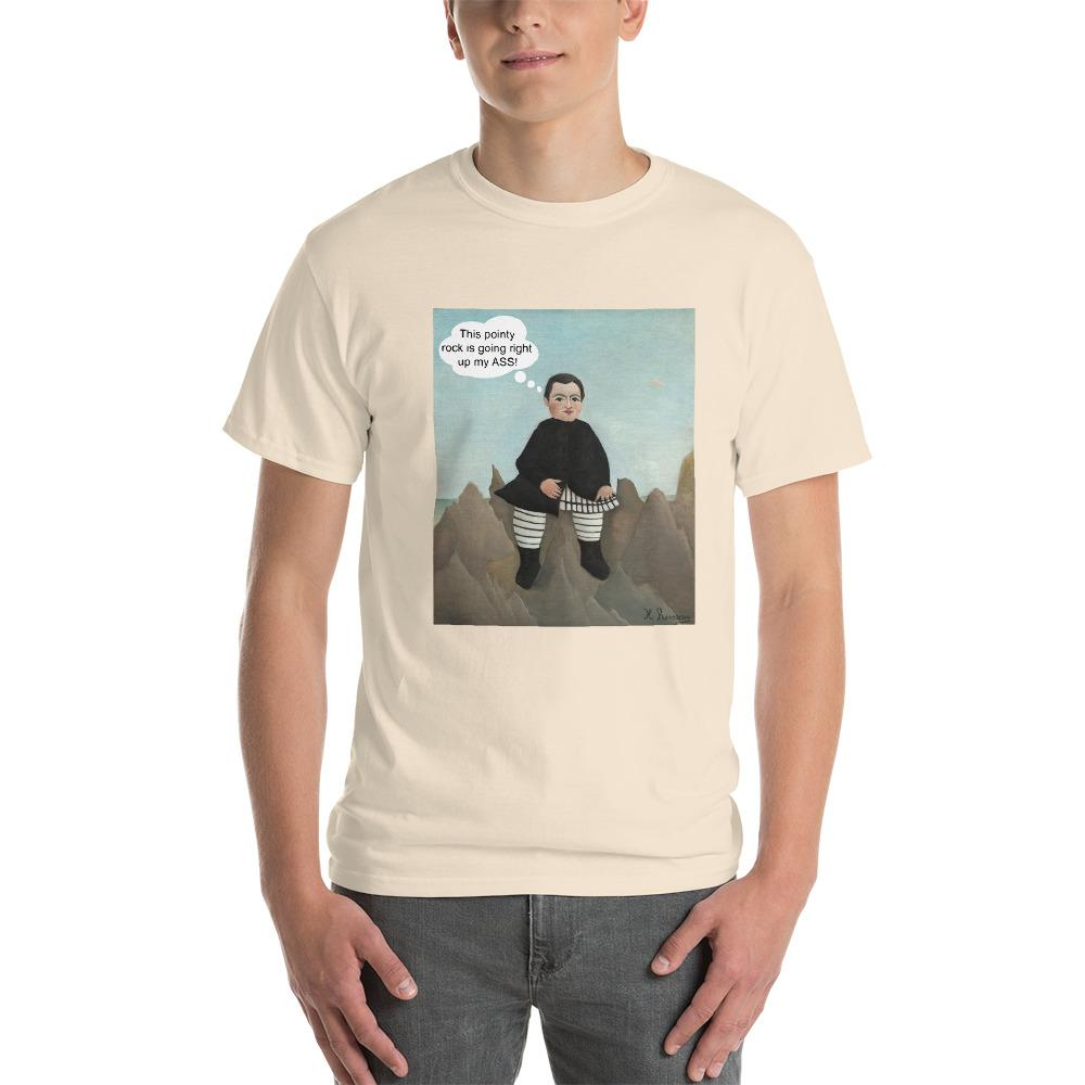 This Rock is Going Right Up My Ass Funny Art T-Shirt-Natural-S-Awkward T-Shirts