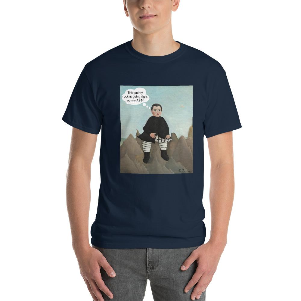 This Rock is Going Right Up My Ass Funny Art T-Shirt-Navy-S-Awkward T-Shirts