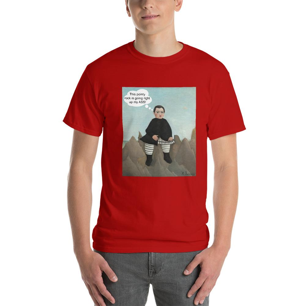 This Rock is Going Right Up My Ass Funny Art T-Shirt-Red-S-Awkward T-Shirts