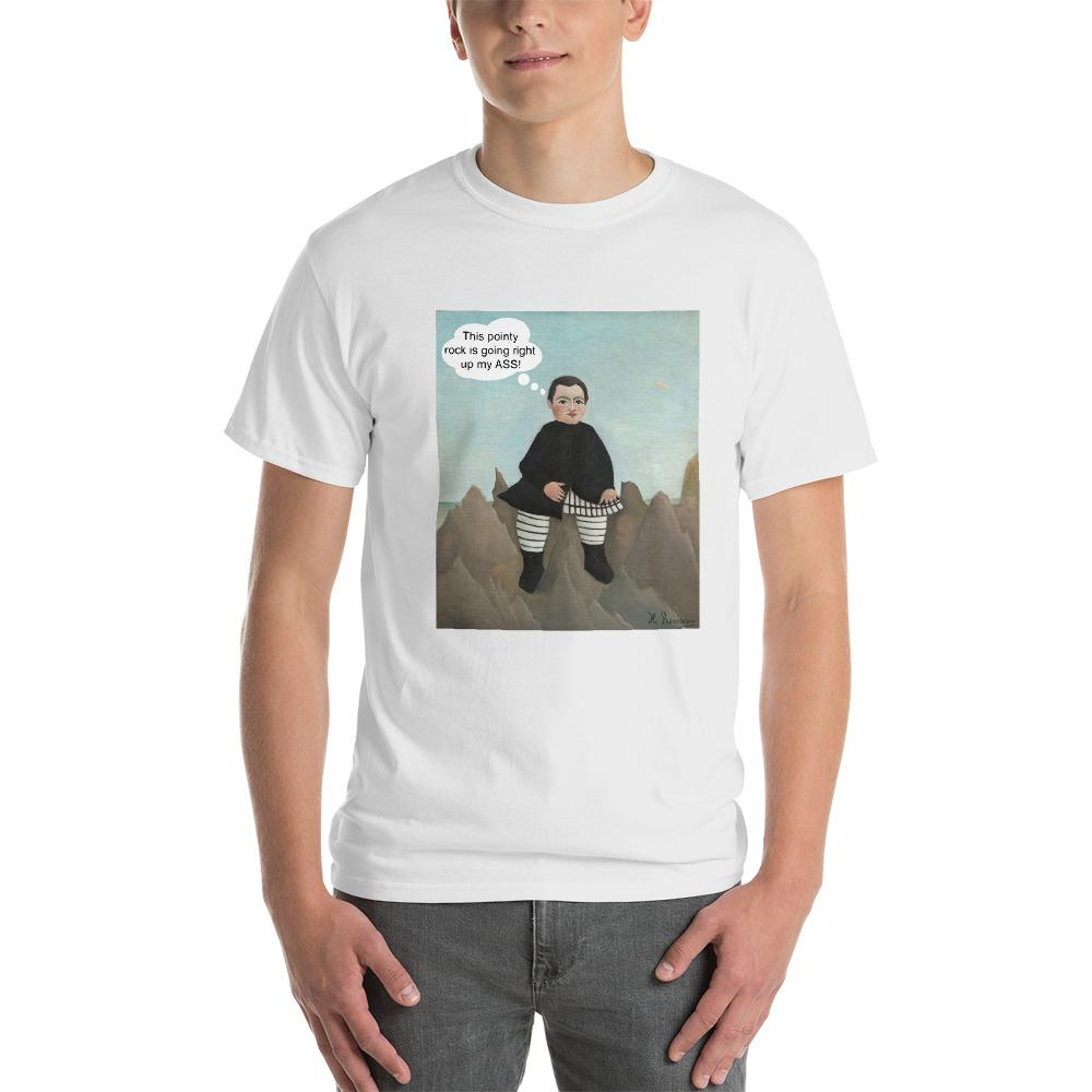 This Rock is Going Right Up My Ass Funny Art T-Shirt-White-S-Awkward T-Shirts