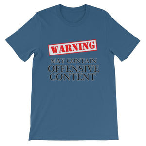 Warning May Contain Offensive Content T-shirt-Steel Blue-S-Awkward T-Shirts
