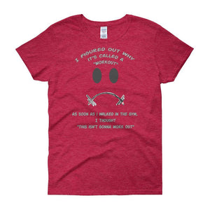 Workout - This Isn't Gonna Work Out Funny Gym Women's T-shirt-Antique Cherry Red-S-Awkward T-Shirts