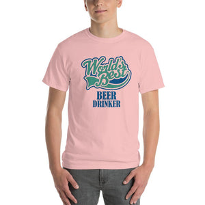 World's Best Beer Drinker Beer Lover T-Shirt-Light Pink-S-Awkward T-Shirts