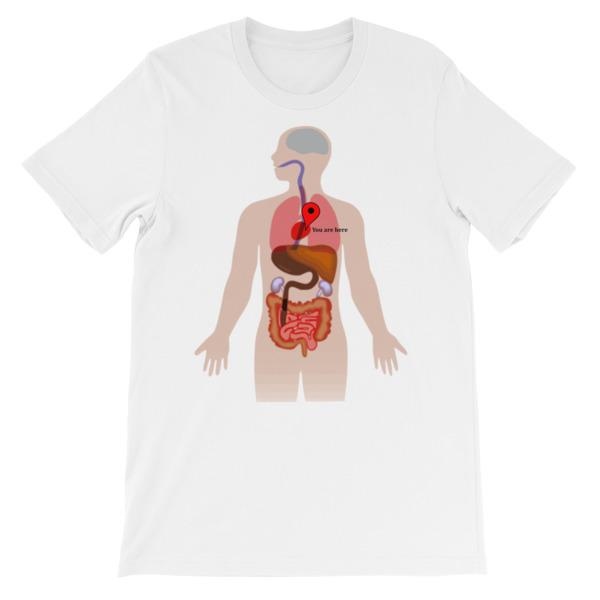 You Are Here Anatomy Medical T-shirt-White-S-Awkward T-Shirts