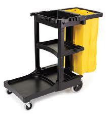 Janitor Cart with Zippered Yellow Vinyl Bag #6173 Rubbermaid