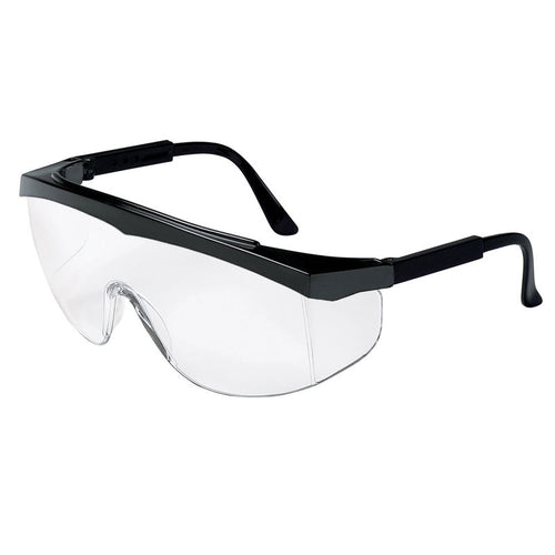 Safety Glasses, Black Frame, Clear Uncoated Lens, MCR Safety SS010