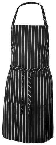 Pinstripe Adjustable Neck Bib Apron with 3 Pockets, Black/White Pinstripe