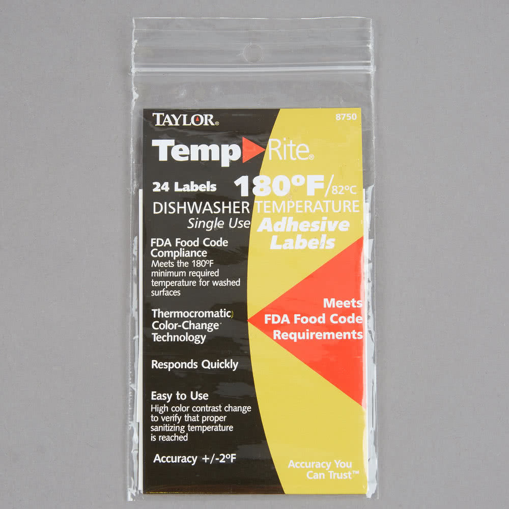 TempRite Single Use Dishwasher 180 Degrees F Test Label - 24/Pack