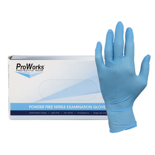 Blue Nitrile Powder Free Exam Gloves, 5 mil.         100/bx