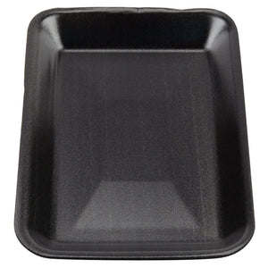 "Genpak 1002 (#2) Foam Meat Tray Black 8 1/4"" x 5 3/4"" x 1"" - 500/Case"