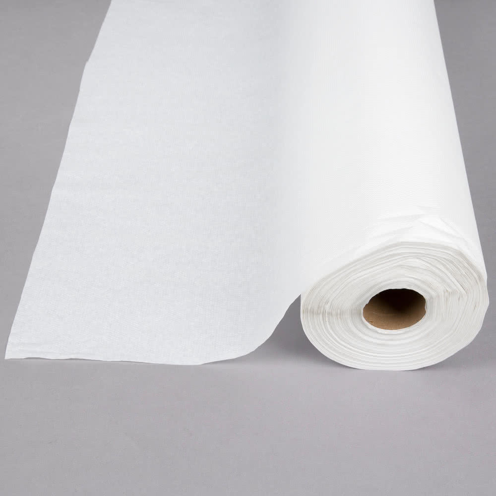 White Embossed Paper Roll Table Cover 40