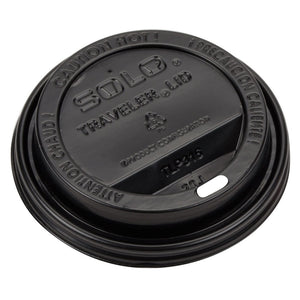 Dart Solo TLB316-0004 Traveler Black Dome Hot Cup Lid with Sip Hole - 1000/Case