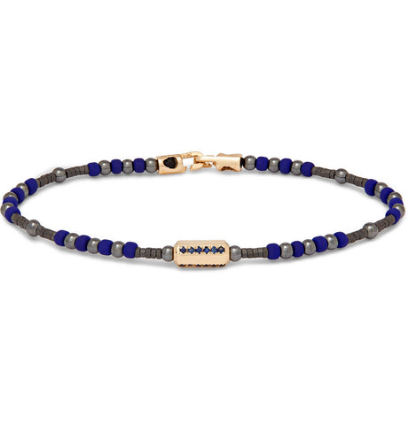 MEDIUM HEXA BEAD WITH SAPPHIRES AND CLASP BRACELET