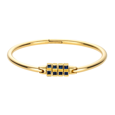 Gold Lock Bracelet With Sapphires