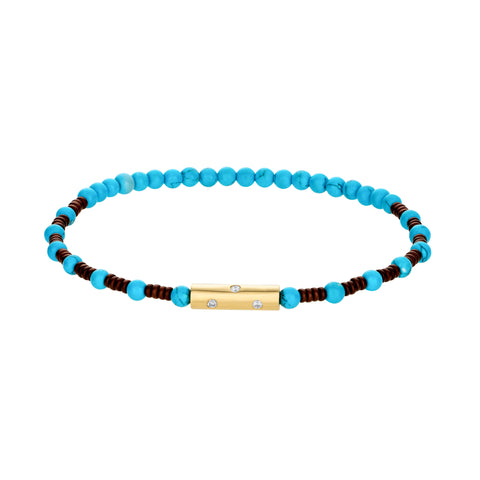 Gold Barrel With Diamonds On Gemstone Beaded Bracelet