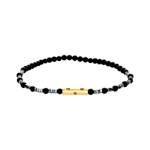 Gold Barrel With Sapphires On Gemstone Beaded Bracelet