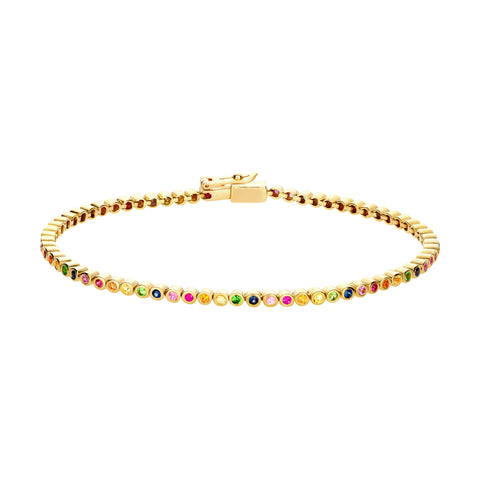 Gold Tennis Bracelet With Sapphires
